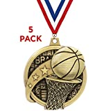 Crown Awards 2' Kudos Basketball Medals - 5 Pack