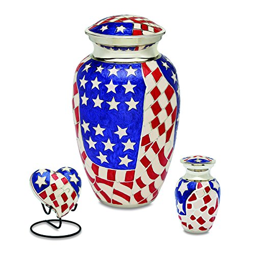 UrnsDirect2U 7702-S Stars & Stripes Cremation Urn Set. Urn Sets Consist of One Each Adult Sized Urn, One Each Token Urn, One Each Keepsake Heart with Display Stand. All Items are Made of Brass