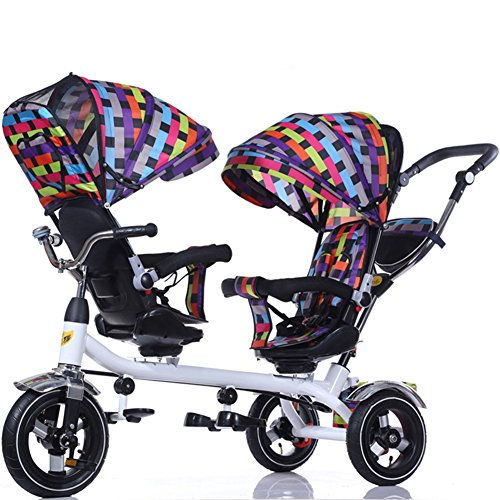 Cheap OLizee Baby Kids Toddler Twins Double Seats Tricycle Stroller Ride-On Trike(Multicolor)