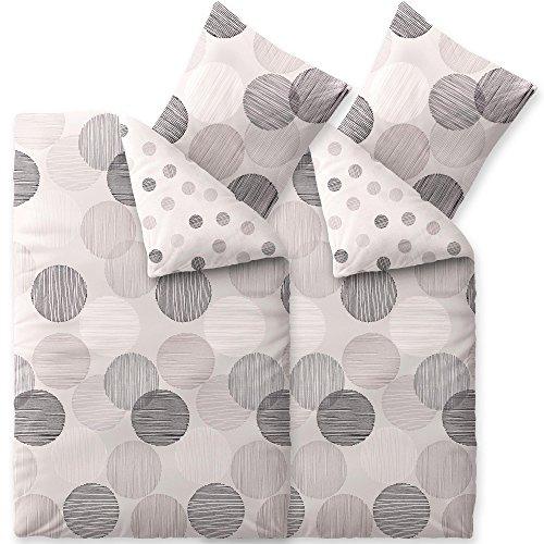 CelinaTex Touchme Bettwäsche 135 x 200 cm 4teilig Baumwolle Bettbezug Biber Filia Punkte weiß grau anthrazit