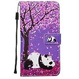 Nadoli Leder Hülle für Samsung Galaxy Note 10 Lite,Bunt Kirschblume Panda Malerei Ultra Dünne Magnetverschluss Standfunktion Handyhülle Tasche Brieftasche Etui Schutzhülle