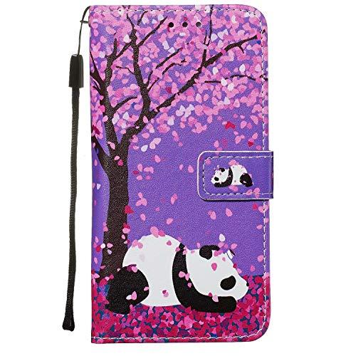 Nadoli Leder Hülle für Huawei P40 Lite,Bunt Kirschblume Panda Malerei Ultra Dünne Magnetverschluss Standfunktion Handyhülle Tasche Brieftasche Etui Schutzhülle