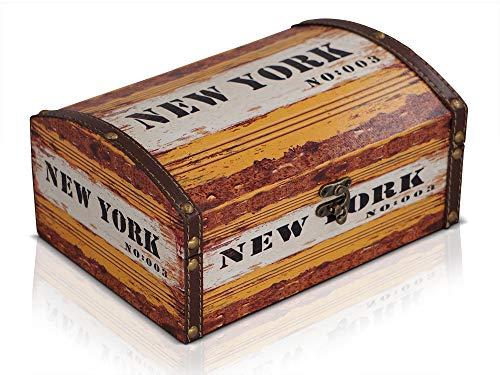 Brynnberg Caja de Madera 24x17x11,5cm - Cofre del Tesoro Pirata de Estilo Vintage - Hecha a Mano - Diseño Retro - joyero