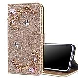 Nadoli Flip Coque pour Xiaomi Redmi Note 9,Paillettes Diamant PU Cuir Papillon Fleur Fermeture...