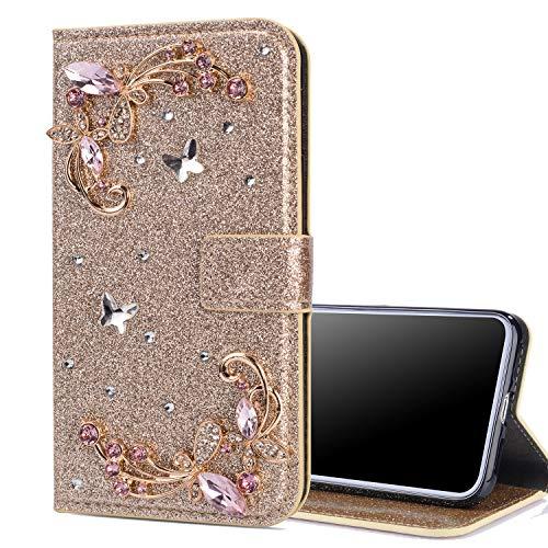 Nadoli Leder Hülle für Galaxy S20 Ultra,Luxus Bling Glitzer Diamant 3D Handyhülle im Brieftasche-Stil Schmetterling Blumen Flip Schutzhülle Etui für Samsung Galaxy S20 Ultra,Gold