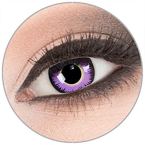 Farbige lila 'Maniac' Kontaktlinsen von 'Evil Lens' zu Fasching Karneval Halloween 1 Paar lila purple Crazy Fun Kontaktlinsen mit Behälter ohne Stärke