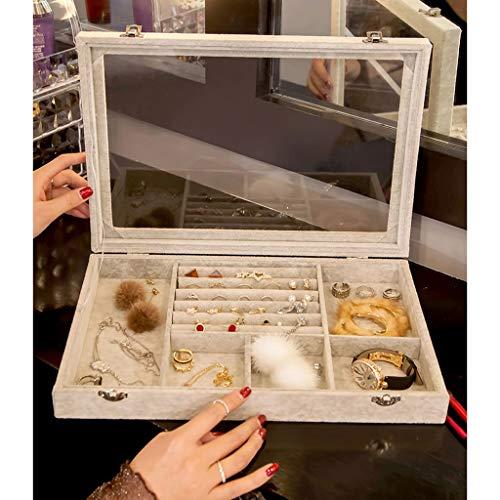 Cajas para joyas Caja de joyería de vidrio transparente Bandeja de terciopelo caja de joyería con tapa de alta capacidad de exhibición de joyería de alta capacidad Organizador a prueba de polvo for pe