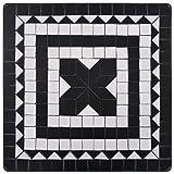 vidaXL Mosaik Bistrotisch Gartentisch Balkontisch Mosaiktisch Terrassentisch Tisch Beistelltisch Gartenmöbel Schwarz Weiß 60cm Keramik - 7