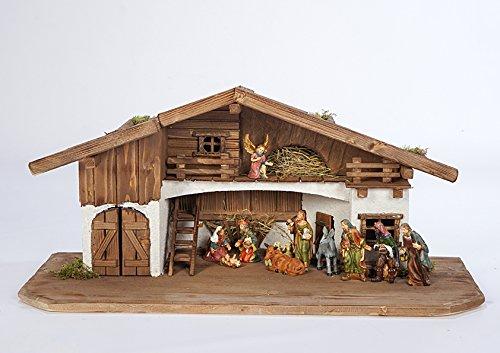 Große Weihnachtskrippe Krippe-(W10+KF5)-mit 12,5 cm Figuren-Krippenstall Weihnachten-Weihnachtskrippen