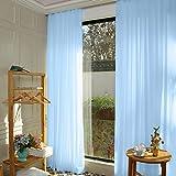 ShinyBeauty Cortinas de gasa 2 paneles 29 'x108' Cortina de ducha azul bebé Cortinas de tela de gasa Cortina transparente de gasa Cortina de gasa azul cielo para telón de fondo de boda