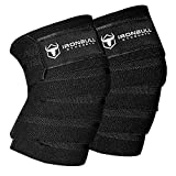 Knee Wraps (1 Pair) - 80' Elastic Knee and Elbow Support & Compression - For Weightlifting, Powerlifting, Fitness, WODs...