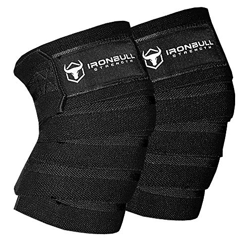 """Knee Wraps (1 Pair) - 80"""" Elastic Knee and Elbow Support & Compression - For Weightlifting, Powerlifting, Fitness, WODs & Gym Workout - Knee Straps for Squats (Black)"""