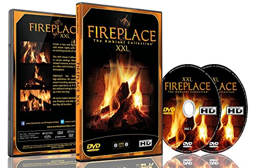 Fireplace Dvd - Fireplace XXL - Filmed in 4k - 2 Dvds Set with Double Extra Long Fires with Burning Wood Sounds