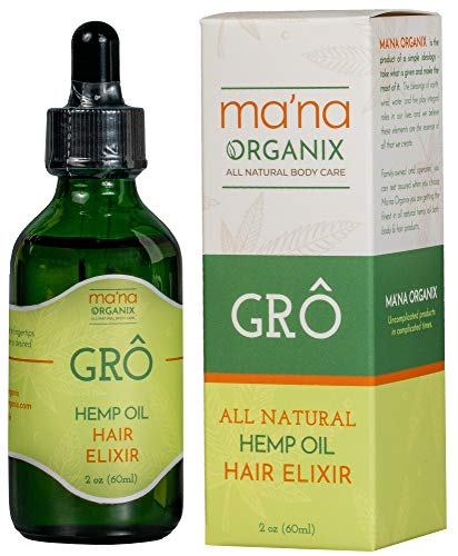 Ma'na Organix – Organic All Natural GRO Hemp Oil Hair Elixir | Ideal for Dry and Damaged Repair, Hydrates and Moistures Hair | Anti-Frizz Serum | Vegan and Cruelty-Free Ingredients Only (2 oz. Bottle)