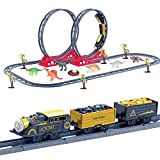 FUN LITTLE TOYS Train Set with 46 Tracks, 1 Toy Train, 6 Dinosaur Toys, 6 Trees, 1 Dinosaur Egg and 1 Nest, Batteries Operated Toy Train Set with Light and Sound, Xmas Gifts for Boys & Girls, 61 Piece