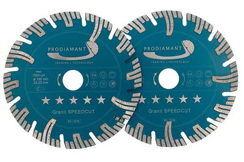 PRODIAMANT Profi Diamant-Trennscheibe Granit SUPER SPEED CUT Doppelpack 150 mm x 22,2 mm mit Schutzsegmenten für Mauerschlitzer