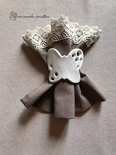 porta tovagliolo a forma di farfalla, portatovaglioli personalizzati fatti a mano in ceramica bianca artigianale artistica