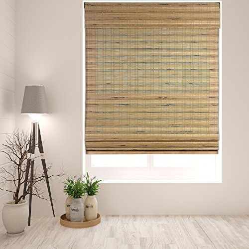 """Arlo Blinds Cordless Tuscan Bamboo Roman Shades Blinds - Size: 22"""" W x 60"""" H, Cordless Lift System ensures Safety and Ease of use."""