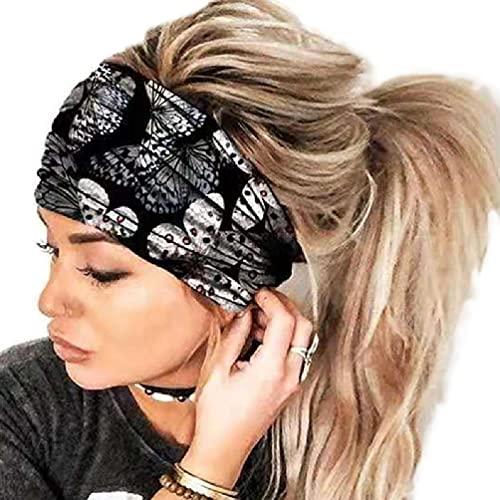 Boho Floral Hairbands Yoga Running Diadema Boho Pattern Head Wrap Turbante ancho Diadema Accesorios para el cabello de moda Diademas deportivas Elástico Antideslizante Envoltura para la cabeza