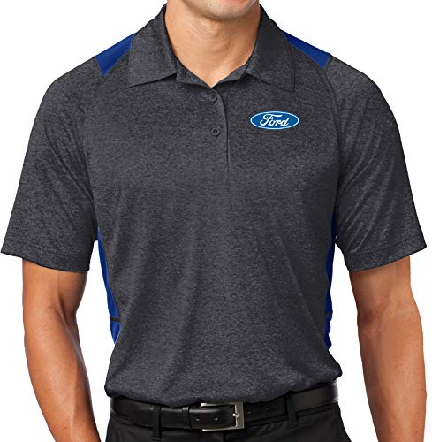 Mens Ford Oval Colorblock Polo Shirt (Pocket Print), 4XL Graphite Heather/True Royal