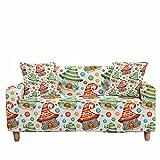 FANSU Funda de Sofá Elástica para Sofá de 1 2 3 4 Plazas, Ajustable Impresión de Navidad 3D Cubre Sofa, Antisuciedad Antideslizante Protector de Muebles (Rojo Verde,1 plazas)