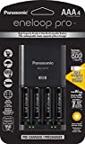 Panasonic K-KJ75K3A4BA Advanced Battery Charger with USB Charging Port and 4AAA Eneloop Pro High Capacity Rechargeable Batteries