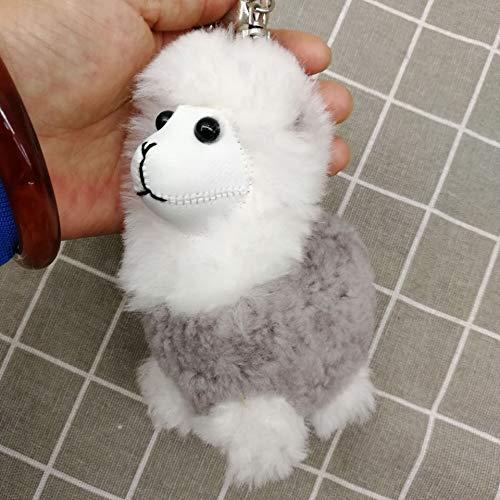 Xpccj Llavero de peluche de alpaca de moda y lindo animal, utilizado para bolsa de cuero, llavero colgante de coche llavero llavero (color: gris claro)