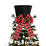 HMASYO Christmas Tree Topper Hat - Christmas Black Velvet Bowler Derby Hat with Large Red...