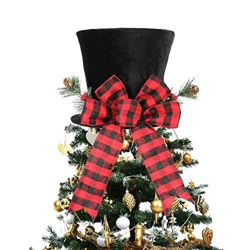 HMASYO Christmas Tree Topper Hat - Christmas Black Velvet Bowler Derby Hat with Large Red Plaid Bow Christmas Tree Decorations Desktop Ornaments for Holiday Home Decor