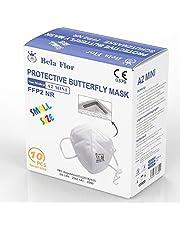 AUPROTEC FFP2 masker mini maat XS ademmasker EU CE 0370 gecertificeerd EN149:2001+A1:2009 mondbescherming 4-laags met vlies aan de binnenkant afzonderlijk verpakt