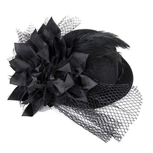 WINOMO Damen Fascinator Hut Mini-Hut Haarschmuck Feder Haarspange für Party Hochzeit