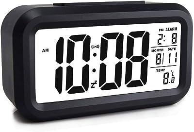 ZOUQILAI Pantalla LCD Grande Reloj Despertador Digital Reloj Despertador con Pilas Reloj Despertador con luz Nocturna
