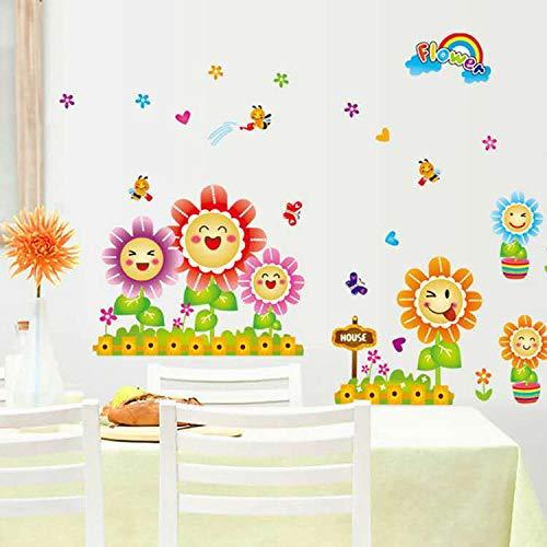 FLAIGO - Adhesivo decorativo para pared, diseño de flores, para guardería, para guarderías, manualidades, sala de estar, cocina, niños, niñas, dormitorio, decoración impermeable