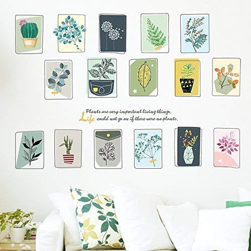 Mural Self-Adhesive Hintergrund Wand, Nordic Plant Proben Schlafzimmer sind dekoriert Bilderrahmen Aufkleber Selbstklebende Tapete Wallpaper Feld der frischen Viertel, Dekorative Wasserdichte Aufkle
