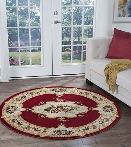 Angeline Traditional Floral Red Round Area Rug, 5' Round