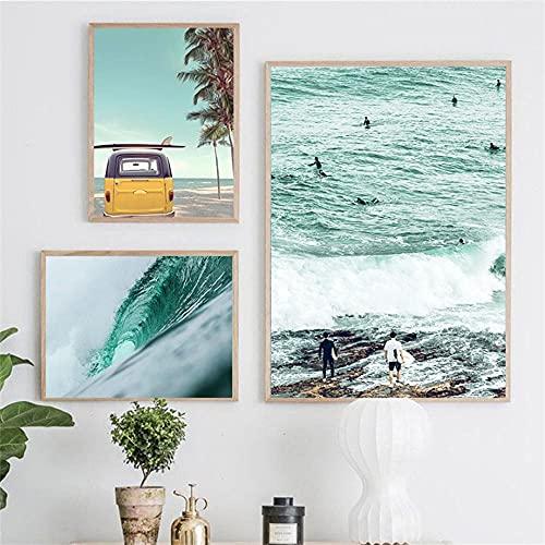 Tabla De Surf Yellow Van Sunny Beach Cuadro Sobre Lienzo Para Pared 3 Piezas Carteles Nórdicos E Impresiones Cuadros De Pared Para La Decoración Del Hogar De La Sala De Estar 12'X16'X3Pcs