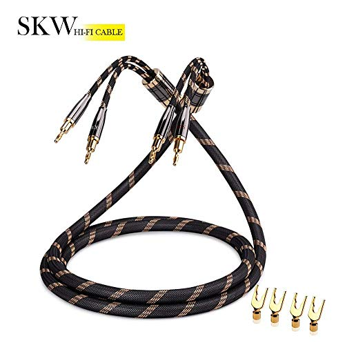 SKW A Pair Audiophile Speaker Cable,Convertible Banana Spade Gold Plated Connector,Nylon Braid,HiFi Quality Cable(8ft/2.5M,2 Pack for 2 Speakers)
