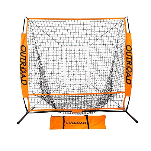 Outroad Baseball Nets Batting & Pitching 5 x 5 - Portable Practice Net w/Bow Frame &Strike Zone Target - Portable & Removable Ball Holder Batting Practice w/Carry Bag