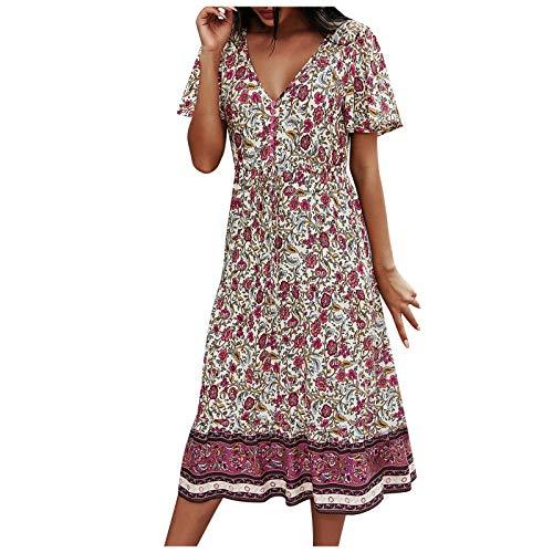 BOOMJIU Vestido Suelto con Manga Corta Cuello en V y Decoración de Botones Estampado de Verano para Mujer Vestido Bohemio Falda Larga