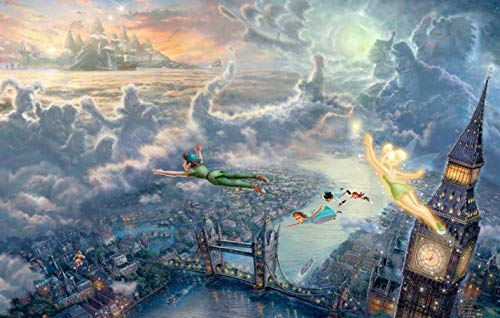 DIY Oil Painting,Paint by Numbers kit for Adults Beginner, Peter pan Fly to Dream Island.-16X20 Inch (Peter Pan. 40X50CM)