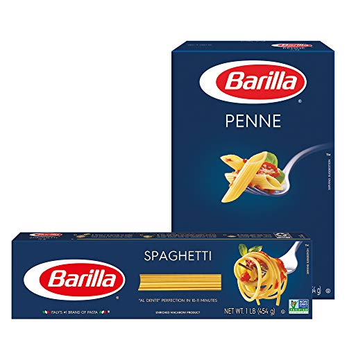 BARILLA Blue Box Pasta Variety Pack, Penne & Spaghetti, 16 oz. Box (Pack of 8), 8 Servings per Box - Non-GMO Pasta Made with Durum Wheat Semolina - Italy's #1 Pasta Brand - Kosher Certified Pasta