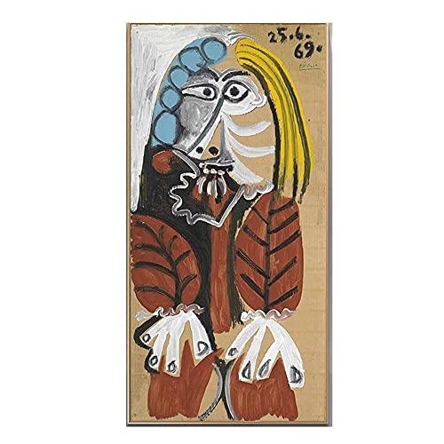 Pablo Picaso Famosos Arte Pinturas Imprimir sobre Lienzo Arte Abstracto Figura Poster Abstracto CláSico Mujer Pared Arte Cuadros Inicio Decoracion 40x80cm No Marco