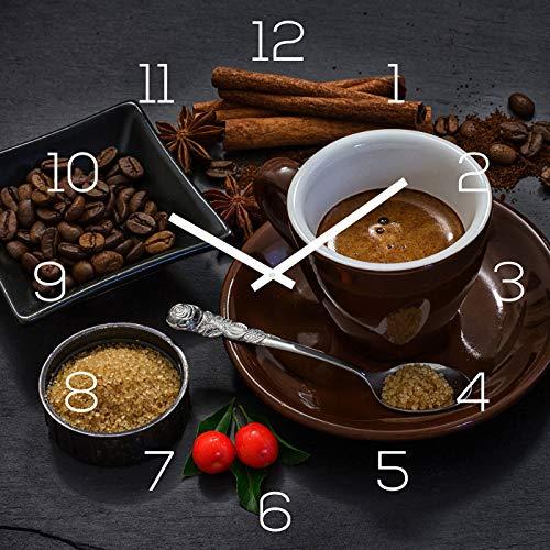 levandeo Wanduhr Alu-Dibond 30x30cm Uhr Alubild Kaffee Braun Küche Deko Coffee Cafe Aluminium Küchenuhr Küchendeko Wanddeko