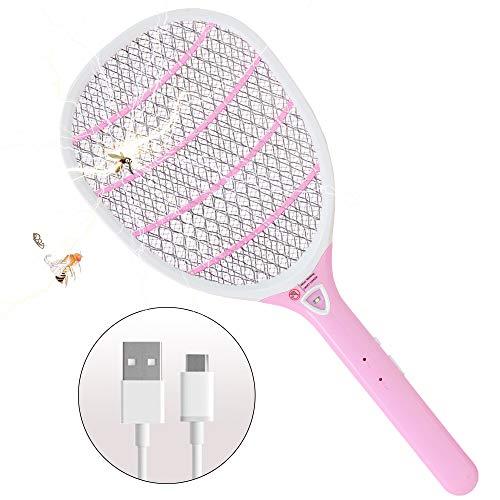 ZOMAKE Elektro-Bug-Schläger, Leichter Moskito-Zapping-Schläger mit LED-Licht, USB-Akku-Fliegenklatsche für drinnen und draußen(Rosa)