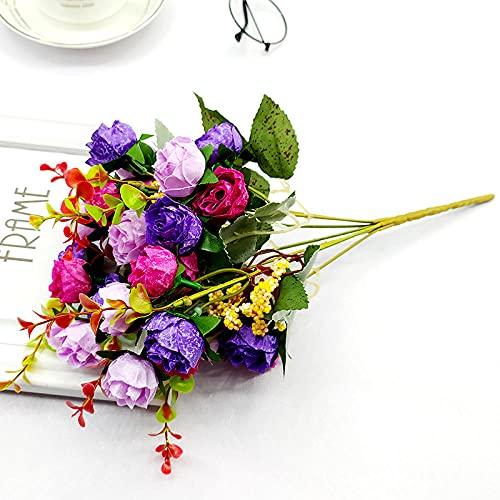 Sonze Flor de Seda Rosa de simulación de 8 Piezas, decoración de Ramo para el hogar, púrpura,Flores Artificiales Decoracion jarrones,Resistentes a los Rayos Ultravioleta