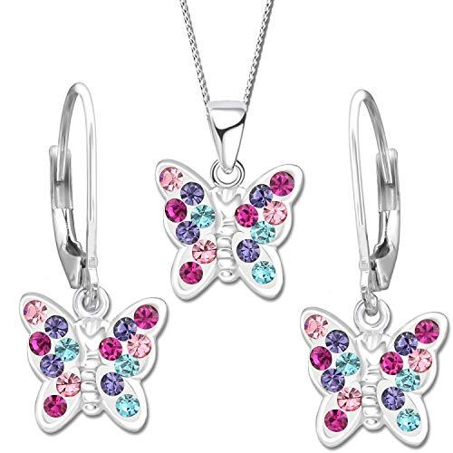 Kinder Schmetterling Set echt 925 Sterling Silber mit Zirkonia Anhänger Halskette Ohrringe Mädchen Bunt Brisur Ohrhänger K649 + K652 + 40cm