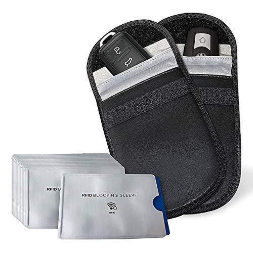 Keyless Go RFID Schutzhülle für Autoschlüssel (2 Stück) & Kreditkarte (12 Stück)