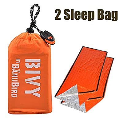 Emergency Sleeping Bags-Ultralight Waterproof Thermal Mylar Sleeping Bag Life Bivy Mylar Emergency Blanket-Includes Stuff Sack with Survival Whistle for Camping,Hiking,2pcs Sleeping Bags for 2 Person