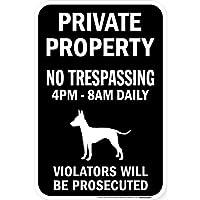 PRIVATE PROPERTY ブラックマグネットサイン:トイマンチェスターテリア シルエット 英語 私有地 無断立入禁止
