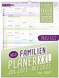 FamilienPlaner XXL 2021/2022 Wandkalender 7-spaltig, 33 x 44 cm | Laufzeit 18 Monate: Jul 21 - Dez 22 | Familienkalender Wandplaner mit Ferienterminen u.v.m. | klimaneutral & nachhaltig
